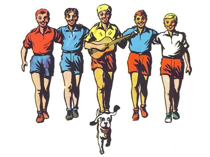 Rychlonožka, Jarka Metelka, Mirek Dušín, Červenáček a Jindra Hojer se psem Bublinou. Kresba pětice se psem Bublinou a logo Rychlých šípů jsou z publikace Rychlé šípy vydané Nakladatelstvím Olympia