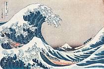 VLNY V KANAGAWĚ. Slavný barevný dřevořez Kacušiky Hokusaie (1760 až 1849), z let 1830 – 1831.