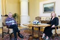 Prezident Miloš Zeman 5. září na zámku v Lánech natáčel rozhovor pro diskusní pořad Partie