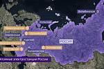 Výstavba jaderných elektráren v Rusku (žlutě jsou vyznačeny elektrárny uvedené do provozu)