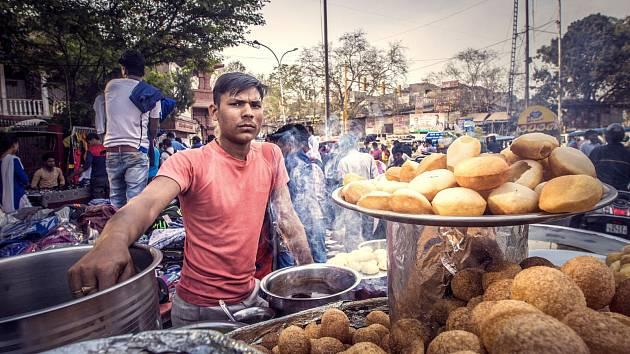 Pouliční prodej potravin je pro Indii typický