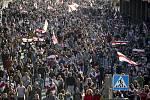 Lidé v Minsku 20. září 2020 protestovali proti výsledku prezidentských voleb, které považují za zmanipulované.