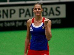 Karolína Plíšková ve Fed Cupu proti Španělsku.