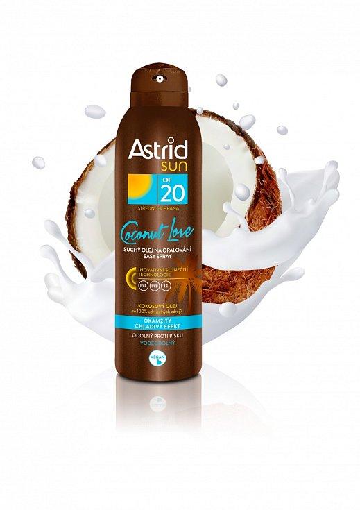 Suchý olej na opalování skokosovou vůní a chladivým efektem Coconut Love OF 20, Astrid Sun, 200 Kč