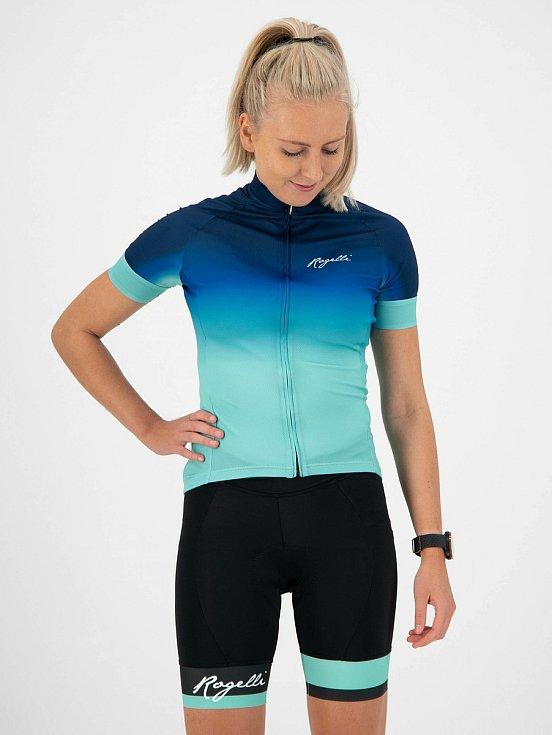 Dámský cykloset Rogelli DREAM SELECT, modro-tyrkysový, cyklokraťasy s gelovou výslelkou, 4 138 Kč.