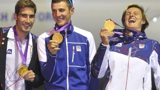 Čeští zlatí medailisté z olympiády v Londýně David Svoboda, Jaroslav Kulhavý a Barbora Špotáková.