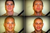 Čeští vojáci, kteří padli v Afghánistánu. Nahoře zleva David Beneš a Ivo Klusák. Dole zleva Libor Ligač a Jan Šenkýř.