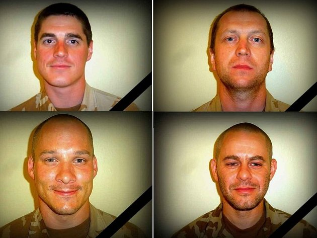 Čeští vojáci, kteří padli vAfghánistánu. Nahoře zleva David Beneš a Ivo Klusák. Dole zleva Libor Ligač a Jan Šenkýř.