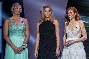 Vyhlašování ankety Sportovec roku probíhalo 21. prosince v Praze. Zleva Barbora Špotáková, Ester Ledecká a Gabriela Koukalová.