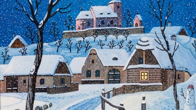 Stejně jako k období Vánoc patří ozdobený stromek a koledy, patří k nim také zasněžené obrázky lidové vesnice s vánočními zvyky od Josefa Lady.