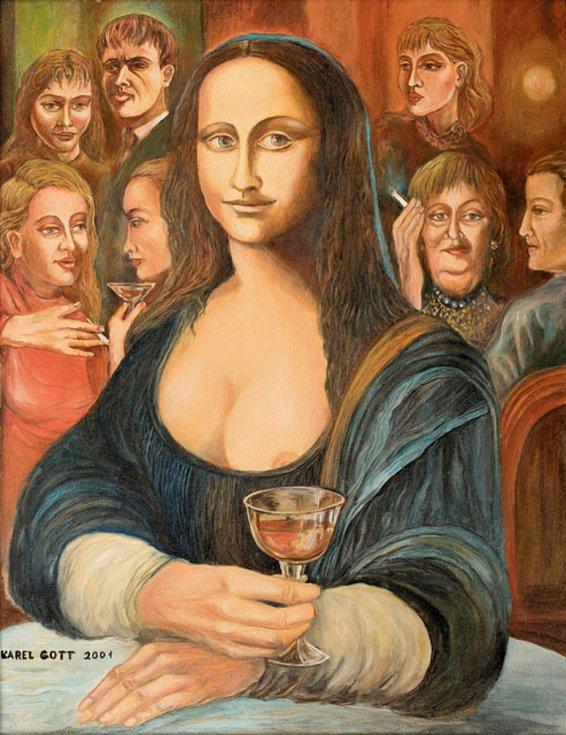 Obraz Mona Lisa, který namaloval zpěvák Karel Gott, se bude dražit v prosincové aukci pražské aukční síně Galerie Kodl