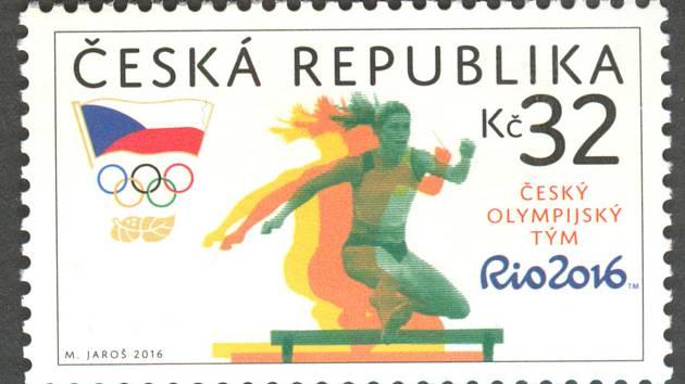 Známka vydaná Českou poštou k olympiádě v Riu de Janeiro s atletkou Zuzanou Hejnovou
