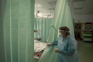 Interní urgentní příjem na snímku pořízeném 5. března 2021 v Klaudiánově nemocnici v Mladé Boleslavi, kde ošetřují pacienty s nemocí covid-19