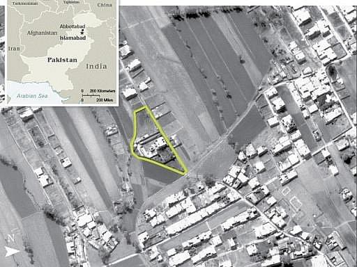 Bin Ládinovo sídlo v Abbottabadu na satelitním snímku
