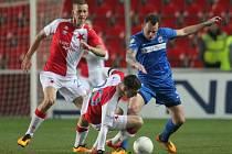 Fotbalisté Brna (v modrém) proti Slavii.