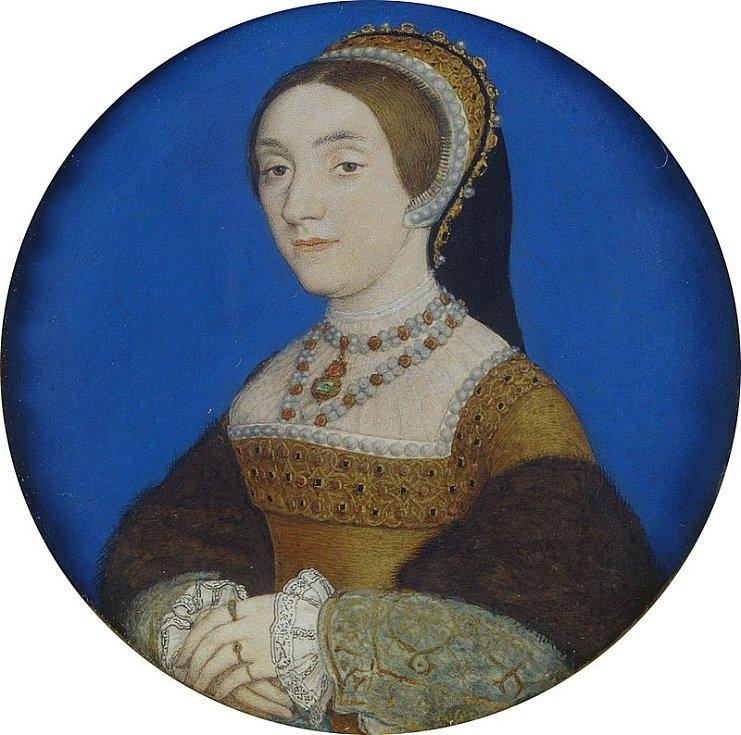 Kateřina Howardová měla v době sňatku s devětačtyřicetiletým Jindřichem VIII. pouze sedmnáct let. Po dvouletém manželství ji král nechal popravit. Autorem malby je Hans Holbein mladší.