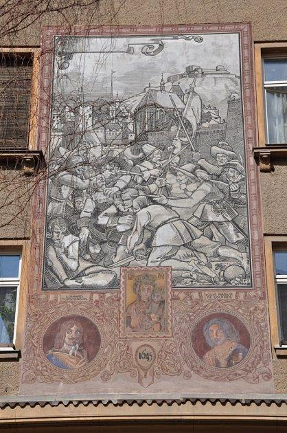 Obrázek zobléhání Brna švédskými vojsky vroce 1645na jednom brněnském domě.