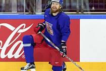 Lukáš Kašpar na tréninku hokejové reprezentace.