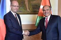 Premiér Bohuslav Sobotka a jeho jordánský protějšek Hání Mulki