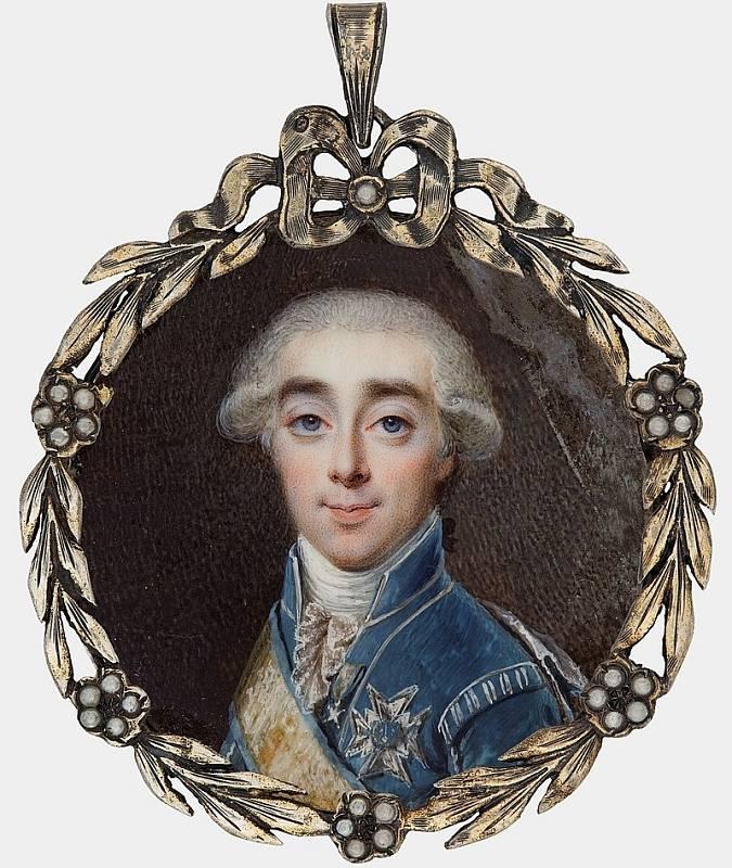 Hrabě Hans Axel von Fersen. Zkušený švédský diplomat a vojevůdce byl favoritem francouzské královny Marie Antoinetty. Zda byla jejich láska pouze platonická, nebo byli i milenci, se dodnes pouze spekuluje. Autorem malby je Niklas Lafrensen.