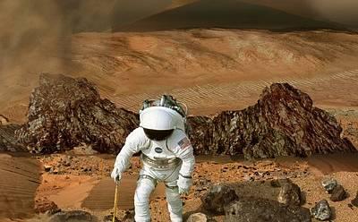 Zatím jen sen, do konce století možná i realita. Nejen NASA touží po cestě člověka na Mars. Zatím je podobný snímek jen vizualizací.
