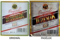 Porovnání etiket Likérky Drak a etiket na zabaveném alkoholu.