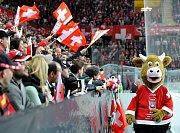 Maskot hokejového mistrovství světa 2009 ve Švýcarsku - kráva Cooly