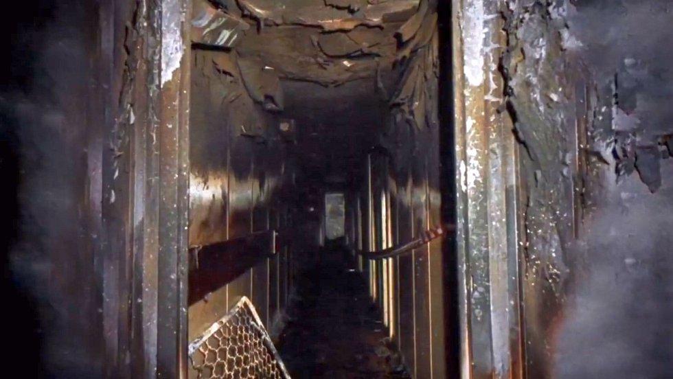 Zničený interiér lodi Scandinavian Star po požáru