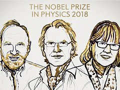 Vítězové Nobelovy ceny za fyziku 2018 Arthur Ashkin, Gérard Mourou a Donna Stricklandová