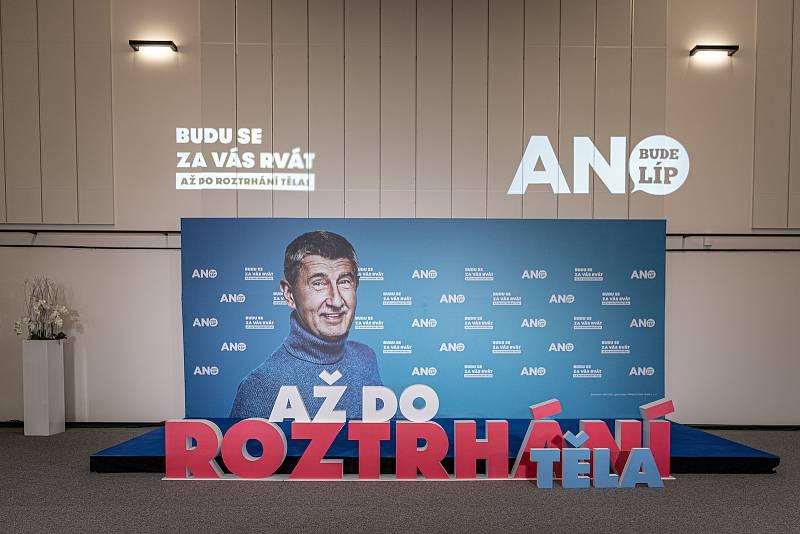 Volební štáb ANO, 9. října 2021 v Praha.