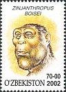 V roce 2002 se hlava australopitéka východoafrického dostala na uzbecké známky