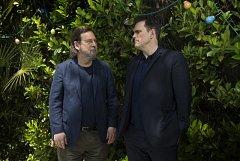 Režisér Lars von Trier (vlevo) s hercem Mattem Dillonem, který ztvárnil hlavní postavu v jeho filmu Jack staví dům.