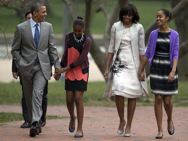 Prezident Barack Obama s rodinou.