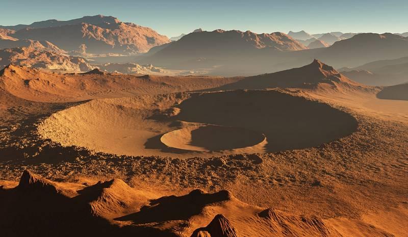 Vizualizace povrchu planety Mars.