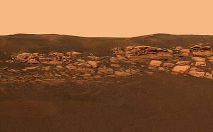 Jeden ze snímků rudé planety, pořízený sondou Opportunity.