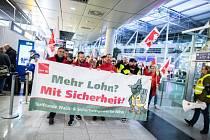 Stávka na letišti v Düsseldorfu.