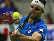 Jiří Veselý ve čtvrtfinále Davis Cupu.