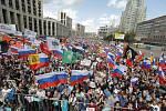 Demonstrace v Moskvě proti zamítnutí kandidatury desítek opozičních politiků ve volbách do městského zastupitelstva