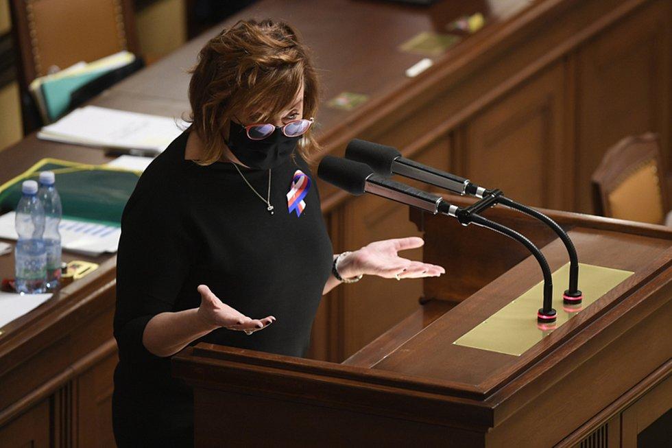Ministryně financí Alena Schillerová vystoupila 11. listopadu 2020 v Praze na schůzi Poslanecké sněmovny