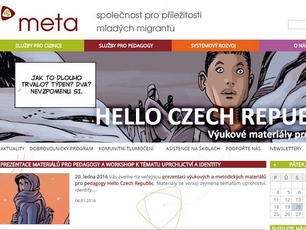 Webová stránka organizace Meta.