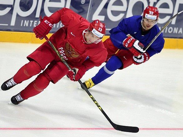 Pavel Dacjuk na tréninku ruského týmu.