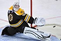 Brankář Bostonu Bruins Tim Thomas.