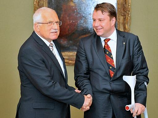 Prezident Klaus přijal ministra průmyslu Martina Kocourka