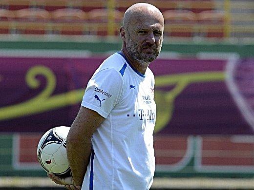 Michal Bílek na pondělním tréninku fotbalové reprezentace.