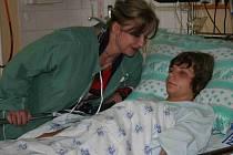 Petr Zhyvachivsky s matkou v nemocnici