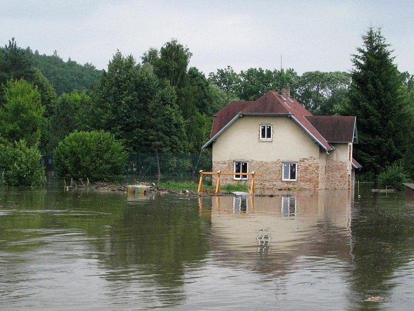 Velká voda v Protivíně v roce 2009.