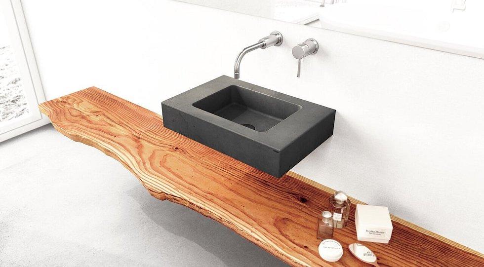 Drobnější závěsné betonové umyvadlo Slant 06 Mini vypadá skvěle i v menší koupelně nebo na toaletě.