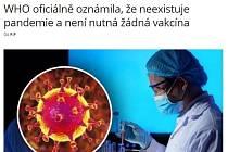 Falešná zpráva, která putuje po českých dezinformačních webech a sociálních sítích