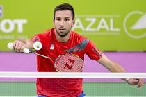 Badmintonista Petr Koukal na Evropských hrách.