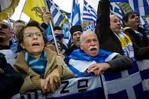 Demonstrace v centru Atén